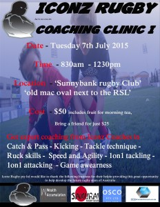 School holiday coaching clinic, Tuesday 7th July at Sunnybank Rugby Club